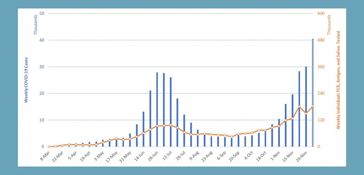 Graph of Arizona Positive COVID-19 Tests, March through November, 2020