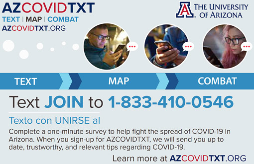 Promotional graphic of AZCOVIDTXT