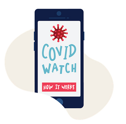 Promotional graphic Covid Watch app
