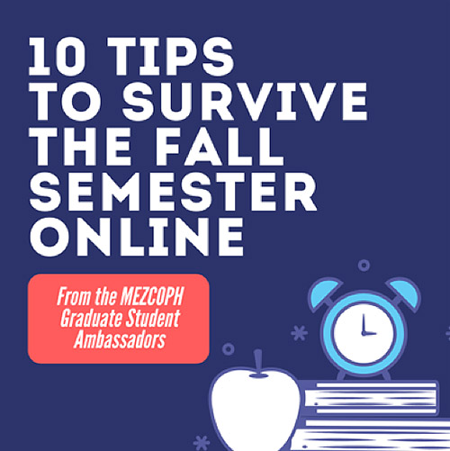 Promotional graphic of 10 Tips to Survive the Fall Semester Online