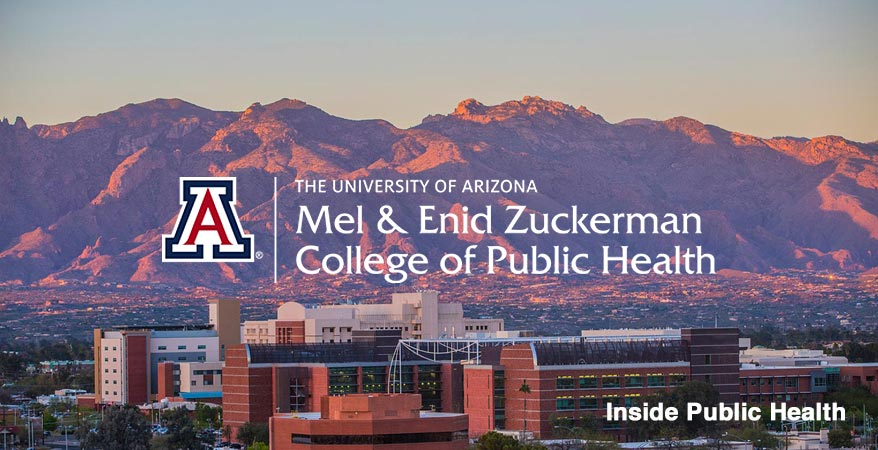 Photo of Arizona Health Sciences Center with mountains in background and the UA College of Public Health logo in foreground