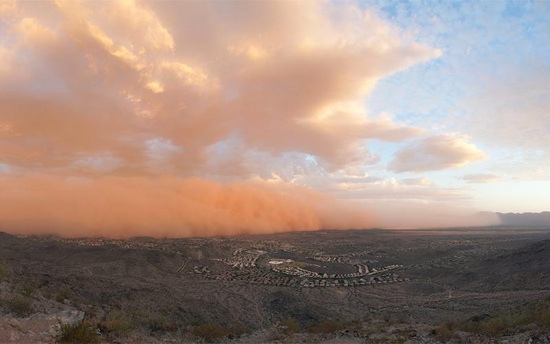 Photo of a Haboob or giant dust storm in the desert