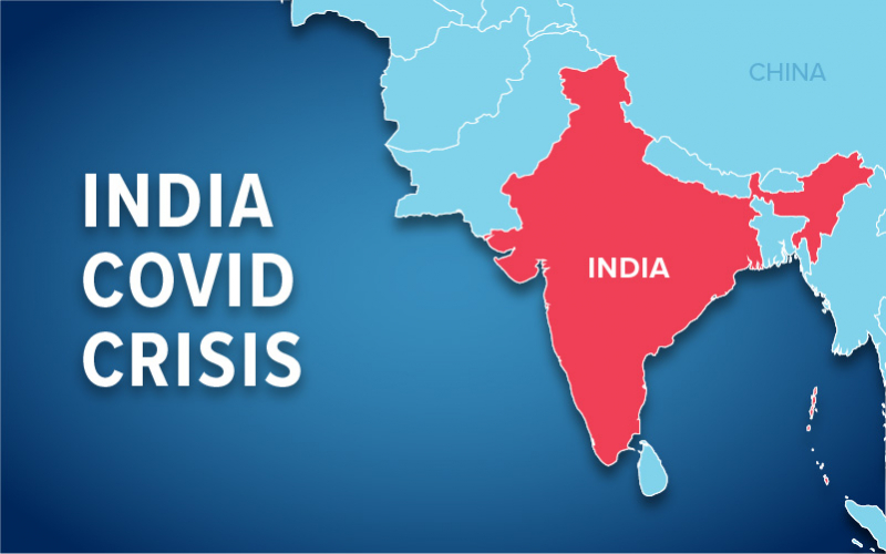 Image of India on map