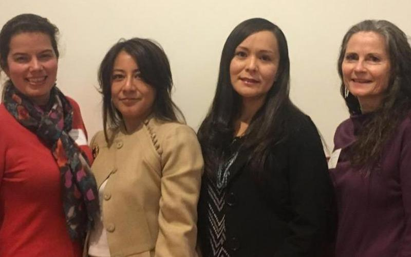 Marshall Foundation Dissertation Fellowship awardees and faculty from the UA Mel and Enid Zuckerman College of Public. From left, Paloma Beamer, associate professor; Sofía Gómez, Carmella Kahn, and Nicolette Teufel-Shone, professor.