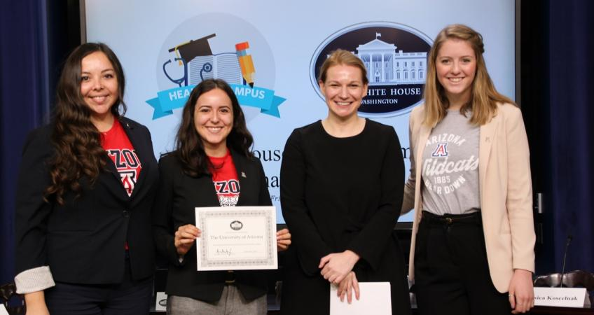 Students with SHARE coordinator and White House representative at the White House Healthy Campus Challenge