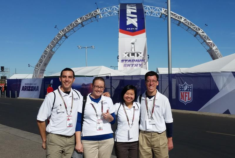 Members of the UA College of Public Health's SAFER team working the Super Bowl include (from left) Zach Peterson, Erika Barrett, and Benjamin Pope with Mary Luc, a CDC Public Health Fellow.