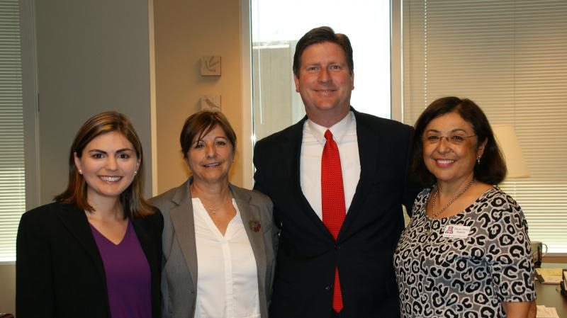Phoenix Mayor Greg Stanton with University of Arizona ASHLine partners:  (l to r) Leila Barraza, Cynthia Thomson, and Dean Iman Hakim from the Mel and Enid Zuckerman College of Public Health.