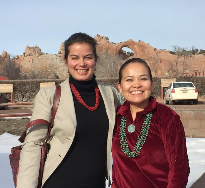 From left, University of Arizona researchers Paloma Beamer (Mel and Enid Zuckerman College of Public Health) and Karletta Chief (Department of Soil, Water and Environmental Sciences) in Window Rock, AZ.