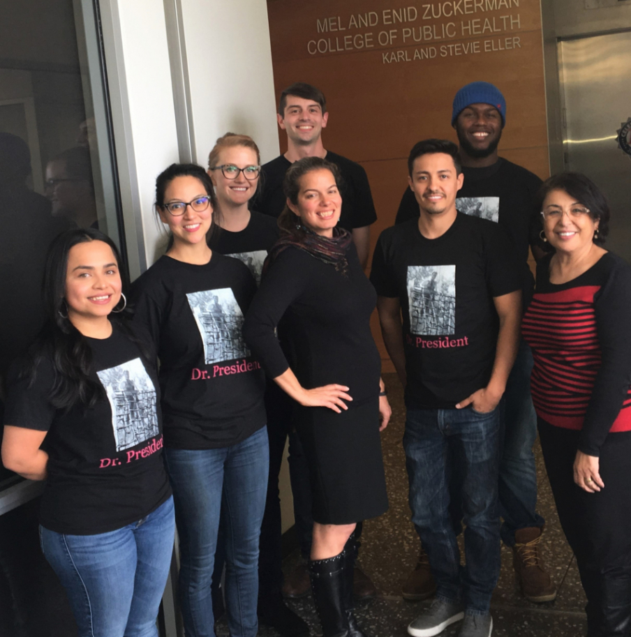 Paloma Beamer (center) with her lab group and Dean Iman Hakim (right). From left, Yoshira Ornelas Van Horne, Melissa Furlong, Rietta Wagoner, Nathan Lothrop, Elgin Avila, and Nicolas Lopez-Galvez.