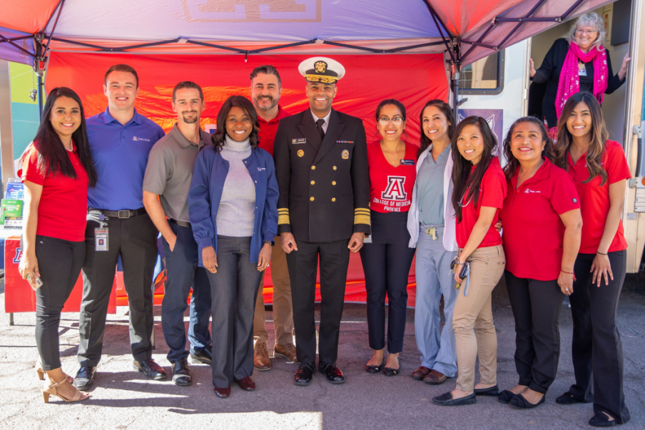 U.S. Surgeon General Jerome Adams met with UA students, faculty, and staff who assist with the operation of the Primary Prevention Mobile Unit, a public health community program in Phoenix. Feb. 12, 2019, Arizona Department of Health Services