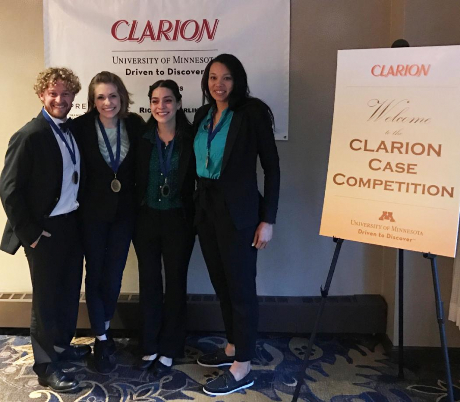 CLARION national champions, the UA interprofessional team featured (from left) Cameron Price, MPH, a medical student; Elizabeth Anderson, a public health master's student; nutrition undergrad Brenda Velarde and Alicia Walker, a nursing graduate student.