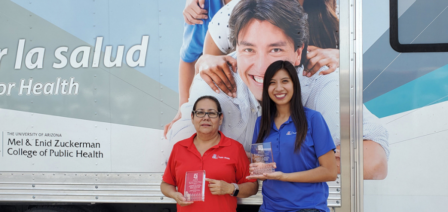 Andrea Contreras and Sheila Soto won the Joel S. Meister Award for outstanding Community Health Worker in 2019. As a student, Ms. Soto was awarded the Gates Millennium scholarship to complete her degree at MEZCOPH. Watch her video testimonial below.