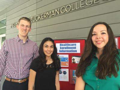 The Center for Rural Health is training students from the UA Colleges of Public Health, Medicine, Nursing and Pharmacy to be Certified Application Counselors through the program Students Helping Arizona Register Everyone (SHARE).  From left, Eric Lander, Lorraine Ramirez and Alyssa Padilla, CRN special projects coordinator. (Photo: Paul Akmajian.)
