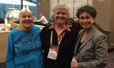Dr. Cecilia Rosales (right) and Jill Guernsey de Zapien (left) from the UA Mel and Enid Zuckerman College of Public Health with Dr. Catalina Denman Champion (center), El Colegio de Sonora.