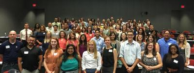 The incoming Fall 2016 Master of Public Health students attend new student orientation at the UA Mel and Enid Zuckerman College of Public Health.
