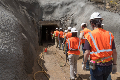 Students enter the University of Arizona San Xavier Mining Laboratory. (Courtesy of the UA Lowell Institute for Mineral Resources)
